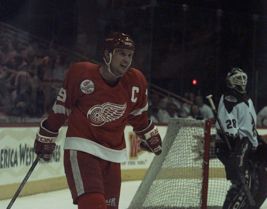 Red Wings' Steve Yzerman celebrates after scoring the Wings' first goal vs. the Phoenix Coyotes during the first period of Game 6 of the first-round playoff series in Phoenix on Sunday, May 3, 1998.