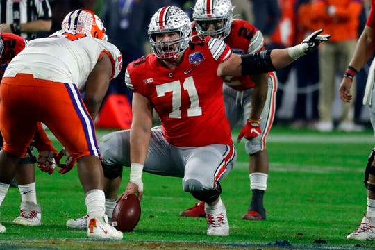 These times amid the coronavirus pandemic have brought an extra level of anxiety for current college players, like Ohio State's Josh Myers (71), hoping for a stellar season or at least one that will raise their profile with NFL scouts.