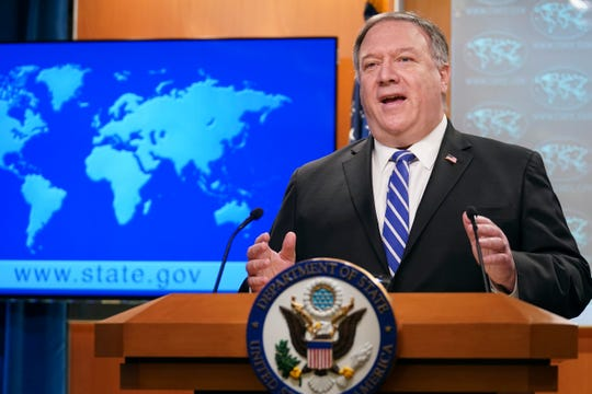 Secretary of State Mike Pompeo speaks about the coronavirus during news conference at the State Department in Washington on Wednesday, May 6, 2020.
