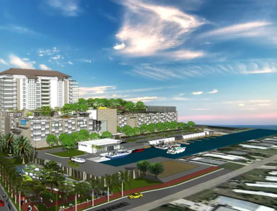 Artists rendering of an earlier version of the  Bay Harbour Marina complex proposed for San Carlos Island. Twice rejected by county commissioners, the developer has agreed to changes in a bid to win another try for approval.