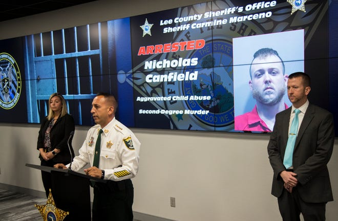 Lee County Sheriff Carmine Marceno speaks at a press conference Monday about the case against Nicholas Canfield, who was arrested on charges of aggravated child abuse and second-degree murder.