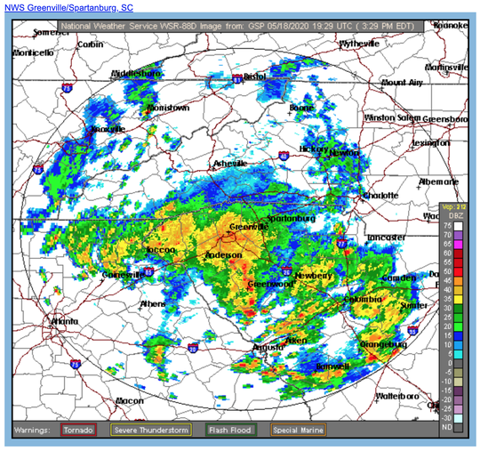 A band of rain moves through Upstate South Carolina on Monday, May 18, 2020.