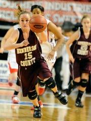 Henderson County's Krista Norman leads the fast break in the 2010 Sweet 16 in Bowling Green.
