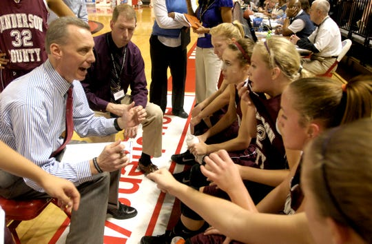 Coach Jeff Haile talks to his team during a timeout during the 2010 Sweet 16 in Bowling Green.