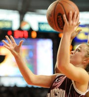 Krista Norman eyes the goal for a layup during the 2010 Sweet 16 in Bowling Green.