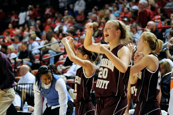 Lauren Rodgers leads the celebration as Henderson County beats Butler in the 2010 Sweet 16 in Bowling Green.