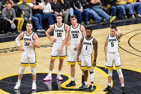 Connor McCaffery (30), Joe Wieskamp (10), Luka Garza (55), Joe Toussaint (1) and CJ Fredrick (5) gained a ton of valuable experience during Iowa's 20-11 season.