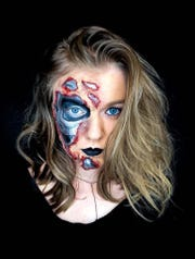 "Jordan Pohlman's ""Terminator"" make-up was one of the projects she tackled in self-isolation."