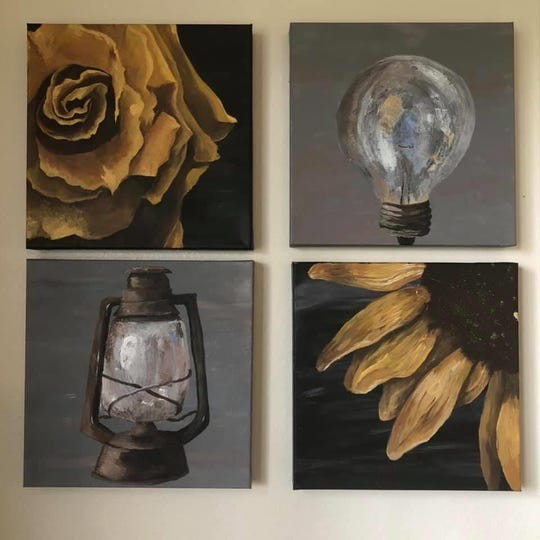 Four of the pieces Jordan Pohlman painted and put on her walls during self-isolation in the midst of COVID-19.