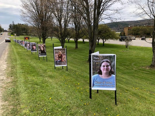 Large senior banners are now placed along the highway in front of the Spencer-Van Etten High School to honor the Class of 2020.