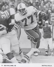 Former Ole Miss football player Ben Williams, seen here playing in the NFL for the Buffalo Bills, died at the age of 65 on May 18, 2020.