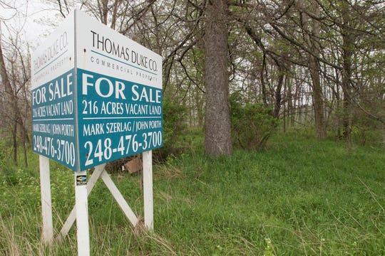 City officials weighed two options for 216 acres of land between D-19 and Lucy Road in Howell, shown Monday, May 18, 2020, new homes or a racetrack complex.