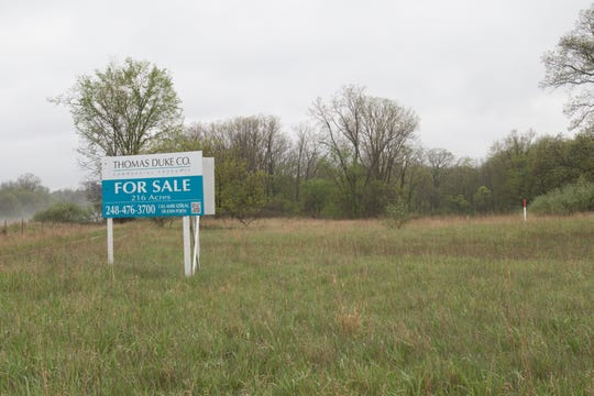 Vacant land Howell city officials are trying to sell between D-19 and Lucy Road close to Interstate 96 is shown Monday, May 18, 2020.