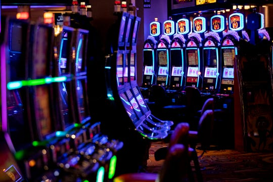 Every other slot machine is disabled to accommodate social distancing Monday, May 18, 2020, at Southland Casino Racing in West Memphis.