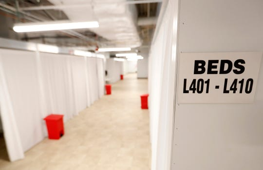 A row of treatment rooms on the fourth floor of the former Commercial Appeal building at 495 Union on Monday, May 18, 2020, in Memphis.