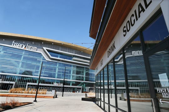 The Deer District and Fiserv Forum wait for the Milwaukee Bucks to return and, hopefully, finish the NBA season.