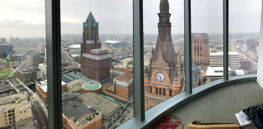 A view of Milwaukee City Hall is seen from the 35th floor of the new BMO Tower.