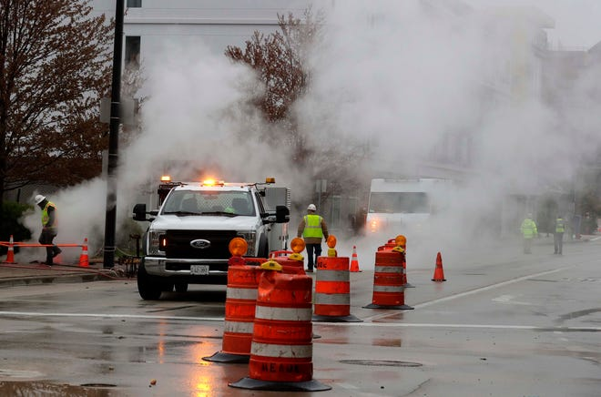 """I-794 eastbound and westbound  were closed early Monday after a large plume of steam caused  some issues during the morning commute near North 2nd and West Clybourn streets. We Energies earlier issued a statement. """"Heavy rain Sunday and early Monday morning caused flooding in parts of our steam system in Downtown Milwaukee – creating large steam plumes in parts of downtown. We are investigating a steam system outage that is impacting some customers."""""""