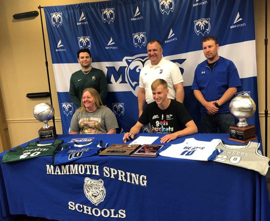 Mammoth Spring's Alex Mero signed Friday a National Letter of Intent to play college basketball at Crowley's Ridge College in Paragould. Mero, a 6-foot-3 all-state guard, averaged 16.2 points, 5.7 rebounds, and 3.4 assists per gamehis senior season with coach Seth Godwin'sBears, who reachedthe Class 1A State Tournament.