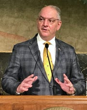 Louisiana Governor John Bel Edwards conducts a press conference on May 18, 2020.