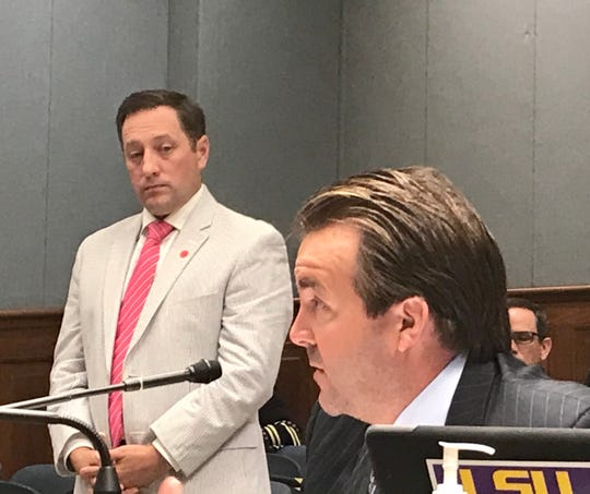 State Rep. Phillip DeVillier, R-Eunice, testifies about his bill to lower Louisiana's severance tax as Louisiana Oil and Gas Association President Gifford Briggs stands in support on May 18, 2020.