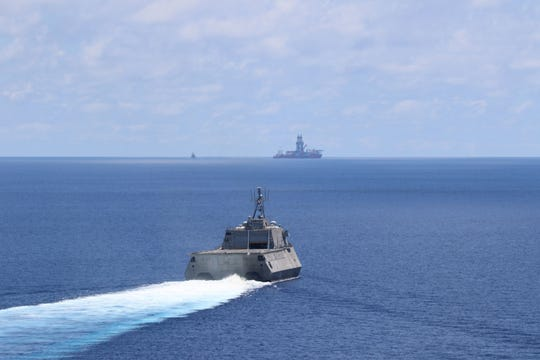 The Independence-variant littoral combat ship USS Montgomery (LCS 8) conducts routine operations near Panamanian flagged drillship, West Capella, May 7.