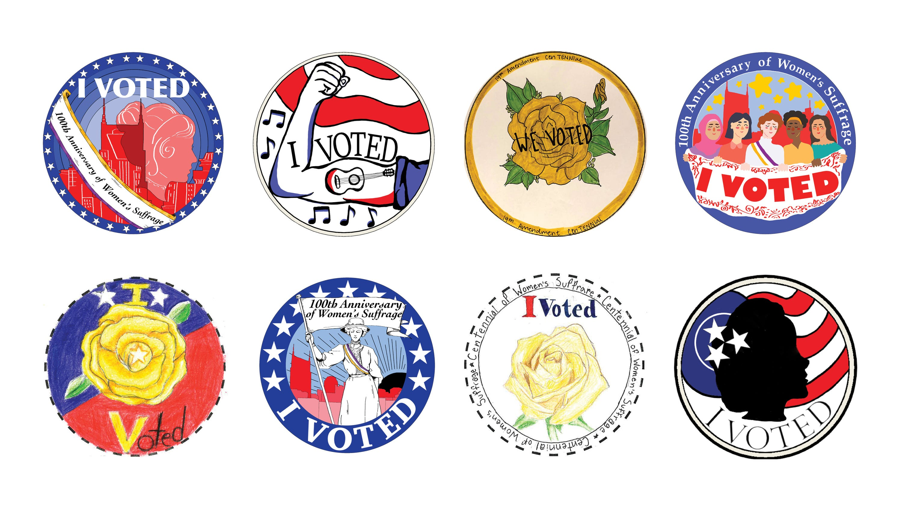 Nashville's new 'I Voted' sticker — designed by student artists to honor women's suffrage — needs your vote