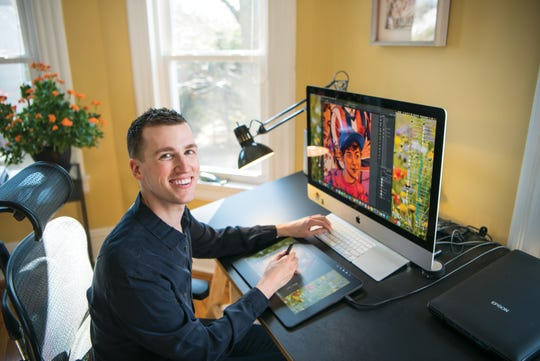 Bloomfield-based illustrator Michael Hoeweler created the poster for this year's Montclair Film Festival. Hoeweler poses for a photo at his Bloomfield home on Wednesday March 4, 2020.