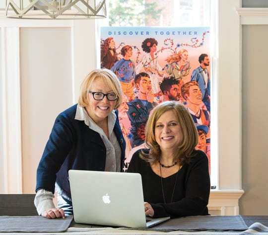 Kelly Coogan Swanson and Lisa Ingersoll, the Co-Directors of Marketing for the Montclair Film Festival, pose for a photo in Bloomfield on Wednesday March 4, 2020.