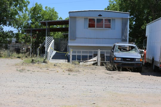 The mobile home located in the 5000 block of Las Alturas Drive, Monday May 18, 2020, where a shooting happened over the weekend.
