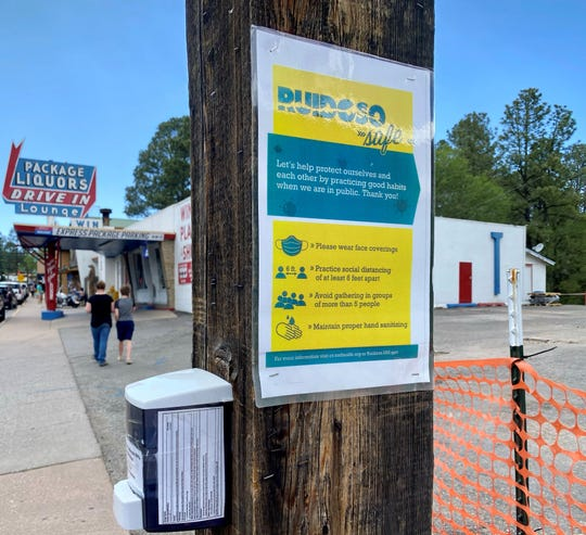 Educational information and hand sanitizer dispensers were placed on polls in midtown. The 'Ruidoso Safe' campaign was organized as a part of 'Phase 1' as businesses in the area were allowed to resume operations on May 16.