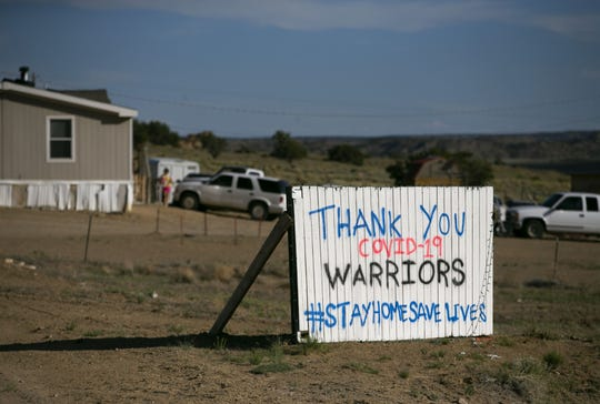 A sign at a home in Mexican Springs, New Mexico, on the Navajo Nation on May 15, 2020.