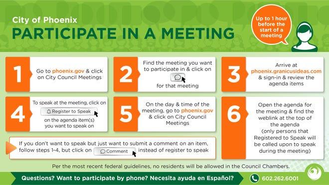 Al utilizar eComment, los residentes pueden registrarse para hablar durante una reunión o simplemente hacer un comentario público en línea.