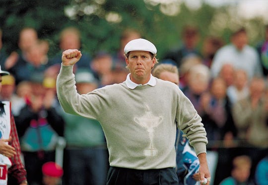 Payne Stewart sporting the American's Ryder Cup-emblazoned sweater.