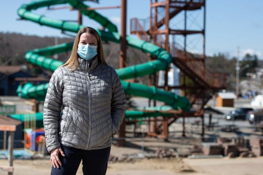 Katie Wojdyla, vice president and director of marketing at Enchanted Forest Water Safari in Old Forge, New York, stands in the vacant park on Wednesday May 13, 2020. If the region's reopening phases occur on schedule, the park plans to reopen, with restrictions, at the end of June.
