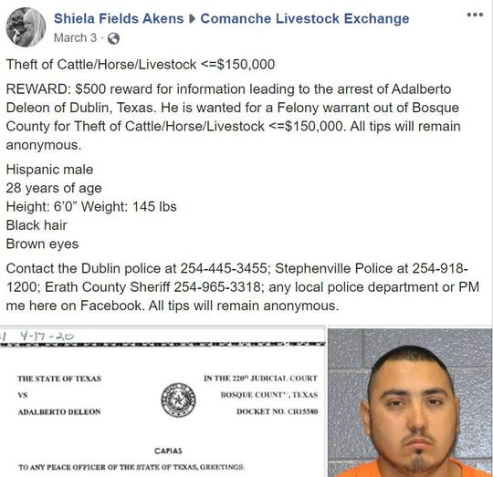 This screenshot post on the Comanche Livestock Exchange Facebook group shows Adalberto Deleon wanted on suspicion of cattle theft.
