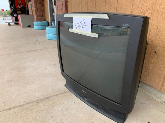 A television set in front of the Bargain Basement in Baltic earlier this month.
