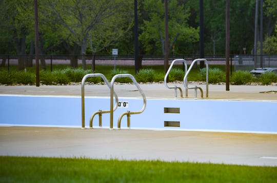Drake Springs Family Aquatic Center stands empty on Monday, May 18, in Sioux Falls. The city announced that public pools will remain closed all summer due to the coronavirus pandemic.
