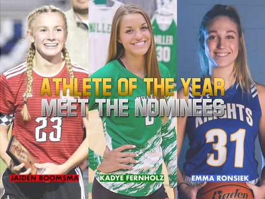 Athlete of the Year nominees: Jaiden Boomsma, Yankton; Kadye Fernholz, Miller; Emma Ronsiek, O'Gorman.