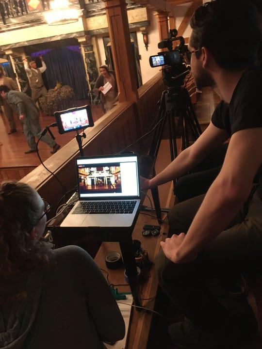 Filming for BlkFrsTV inside Blackfriars Playhouse at American Shakespeare Center in Staunton, Virginia.
