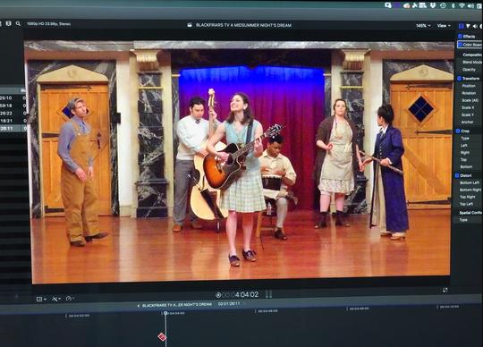 Filming and editing BlkFrsTV at American Shakespeare Center's Blackfriars Playhouse in Staunton, Virginia.