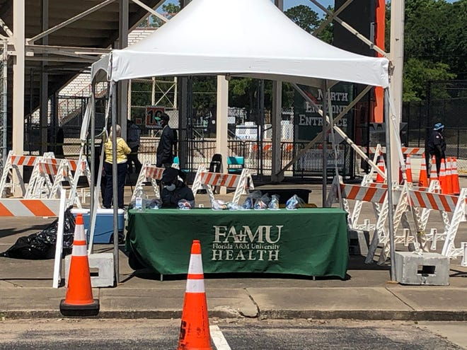 The free COVID-19 testing site at Bragg Memorial Stadium on the FAMU campus Tuesday, May 12, 2020, has a steady stream of patients, but plenty of space to keep them all socially distant.