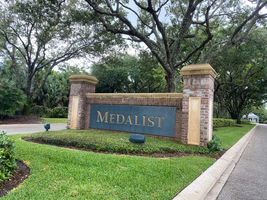 The front gate at the Medalist Golf Club in Hobe Sound.
