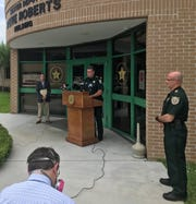St. Lucie County Sheriff Ken Mascara (center) discusses COVID-19 cases in the St. Lucie County Jail. Clint Sperber, administrator at the Health Department in St. Lucie County, is at left. Sheriff's Maj. Chris Cicio at right.