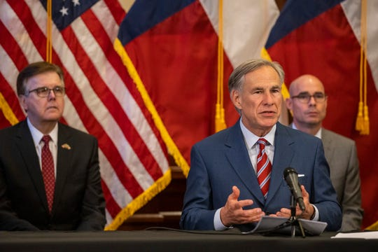 Texas Gov. Greg Abbott announces the reopening of more Texas businesses during the COVID-19 pandemic at a news conference at the Texas State Capitol in Austin on Monday, May 18, 2020. Abbott said that youth camps, some professional sports and bars may soon begin to fully or partially reopen their facilities as outlined by regulations listed on the Open Texas website.