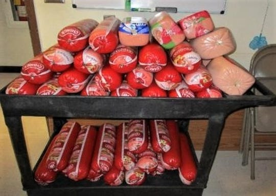 CBP officers seized 350 pounds of Mexican bologna and 99 pounds of pork/poultry lunch meats at the Zaragoza Bridge in El Paso on May 13, 2020.