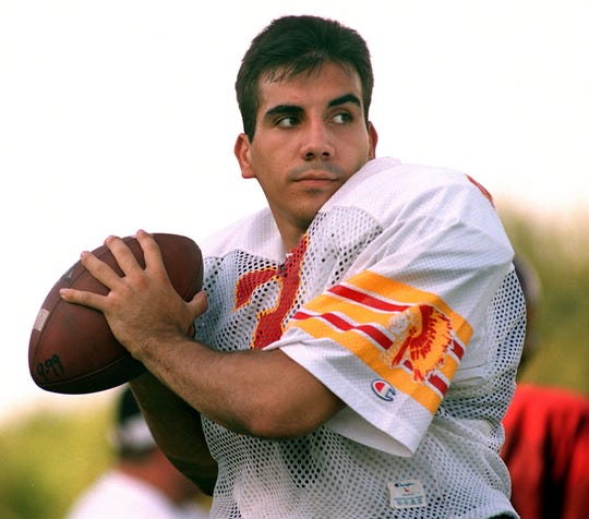 Tulare Union's Paul Ferreira warms up during a West All-Stars football practice at Bob Mathias Stadium Wednesday, July 25, 2001.