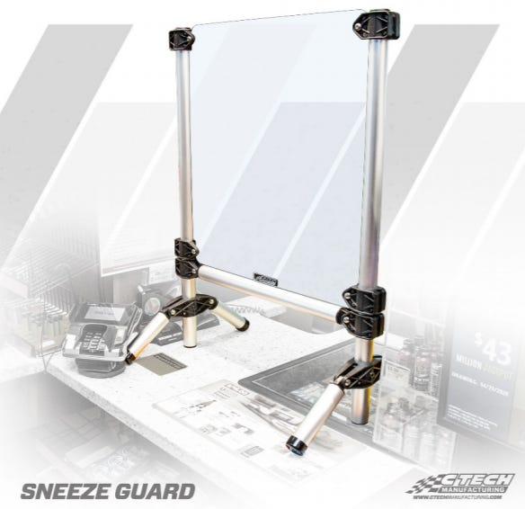 A sneeze guard made by Weston-based company CTech Manufacturing to prevent the spread of COVID-19.
