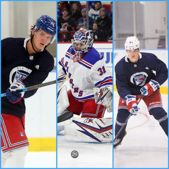 From left to right, New York Rangers' prospects Vitali Kravtsov, Igor Shesterkin and Nils Lundkvist.