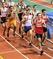 North Rockland's Andrew Kolesar, shown leading the pack during a relay at The Armory, will compete in the fall in cross-country for the U.S. Naval Academy. (Photo courtesy of Nicholas Estavillo)